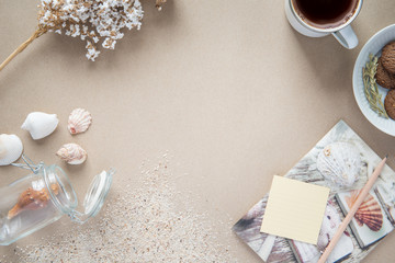 Workspace - coffee, and cookie on table. Background with free te