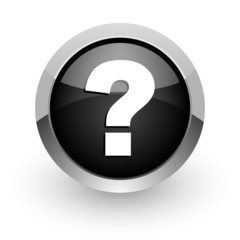 question mark black chrome glossy web icon