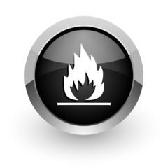 flame black chrome glossy web icon