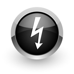 bolt black chrome glossy web icon