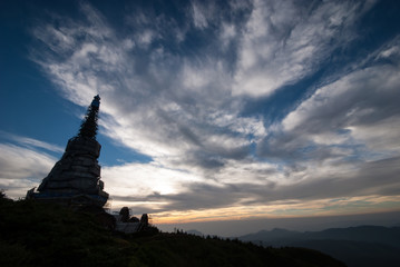Landscape of pagoda in an Inthanon mountain