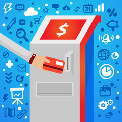 Bright vector illustration male hand holds bank card near atm on