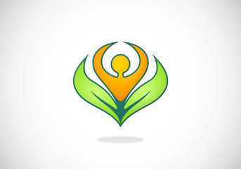 plant people ecology abstract vector logo