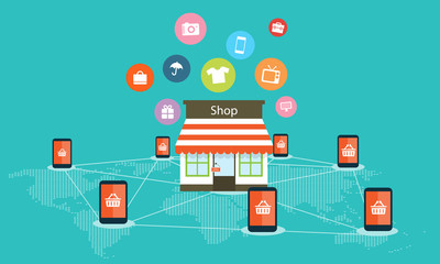 Mobile internet shoping online vector background