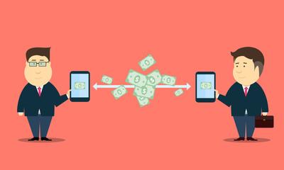 E- business people online internet mobile transaction vector
