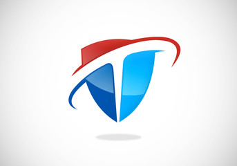 shield T letter symbol vector logo