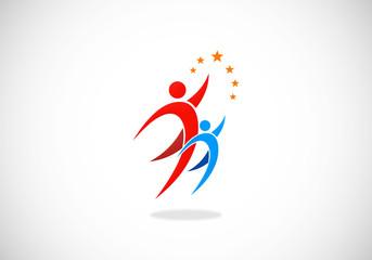 success partner people business vector logo