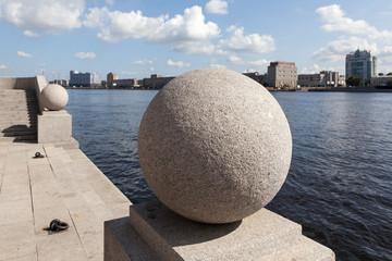 Granite hills on the Neva embankment Smolny. St. Petersburg.
