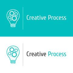 Vector gears bulb logo design  template concept