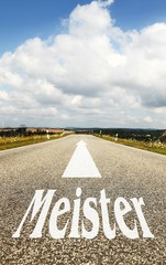 das Wort Meister auf der Strasse