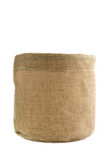 burlap box isolated on white
