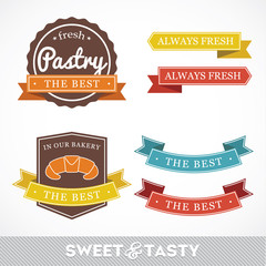 Collection of signs labels with BAKERY
