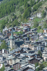 Aerial view of Zermatt, Switzerland