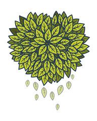 Heart of leaves. Vector illustration.