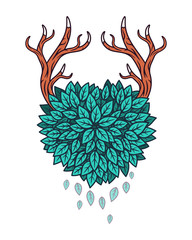 Heart of leaves with horns. Vector illustration.