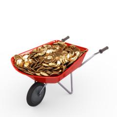 Schubkarre voll Münzen