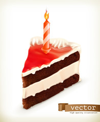 Piece of cake with a candle, vector icons