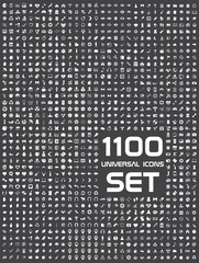 Universal flat circle icons set bw 1100