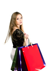 Girl with paper bags for shopping