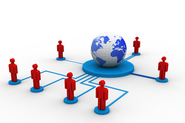 Social networking , globe and peoples connect with network
