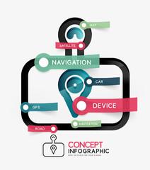 GPS navigator infographic concept