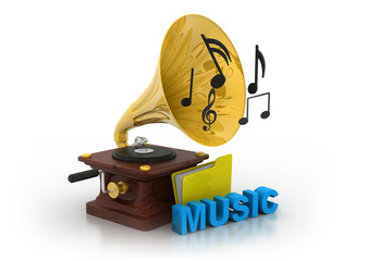 Gramophone and music folder ..