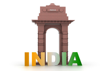 3d design of India gate with word India .