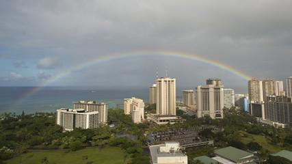 Rainbow over Waikiki Beach