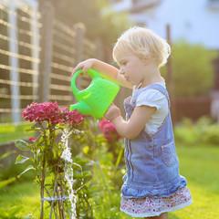 Cute toddler girl watering flowers in the backyard garden