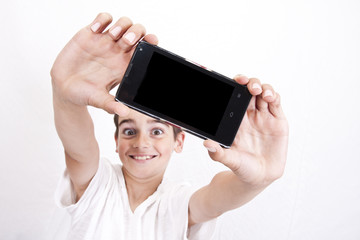 selfie child in closeup over white background