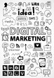 Hand drawn set of digital marketing and social media icons