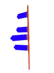 Multi-directional four way signpost with blank spaces for text.