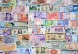 Money of the different countries.