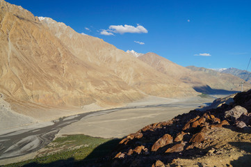 Beautiful scenic view of Nubra Valley in Ladakh,India