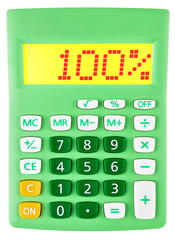 Calculator with 100% on display on white background