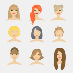 Flat modern design vector illustration concept of hairstyles