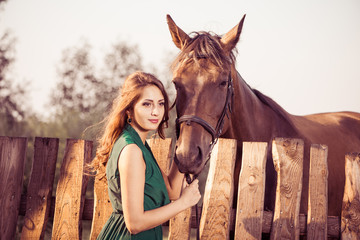 woman portrait with brown horse