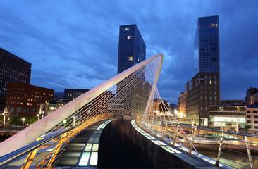 Pedestrian bridge in the city of Bilbao, Spain