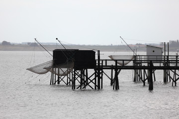 Pier and cabins for fishing in the atlantic ocean