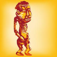 Zeichnung Afrikanische stehende Holzpuppe