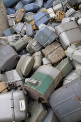 broken gas counters and old in special waste landfill
