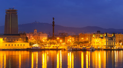 Barcelona and Mediterranean in night.  Spain