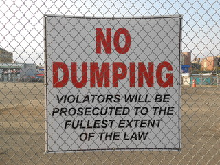 """""""No Dumping"""" Sign on Coney Island."""