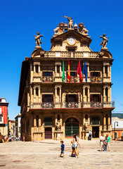 Townhall facade  in Pamplona, Spain