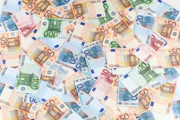 Twenty, fifty and one hundred Euro banknotes