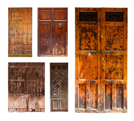 vintage wooden doors. Isolated