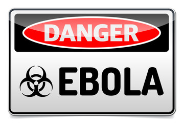 Ebola virus danger sign with reflect and shadow. Isolated symbol