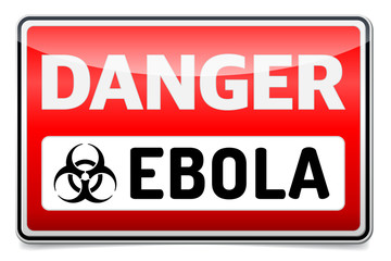 Ebola virus danger sign with reflect and shadow. Isolated sign.