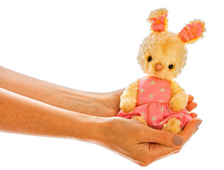 Rabbit bunny toy isolated in hand