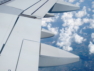 aeronautical wing parts in flight